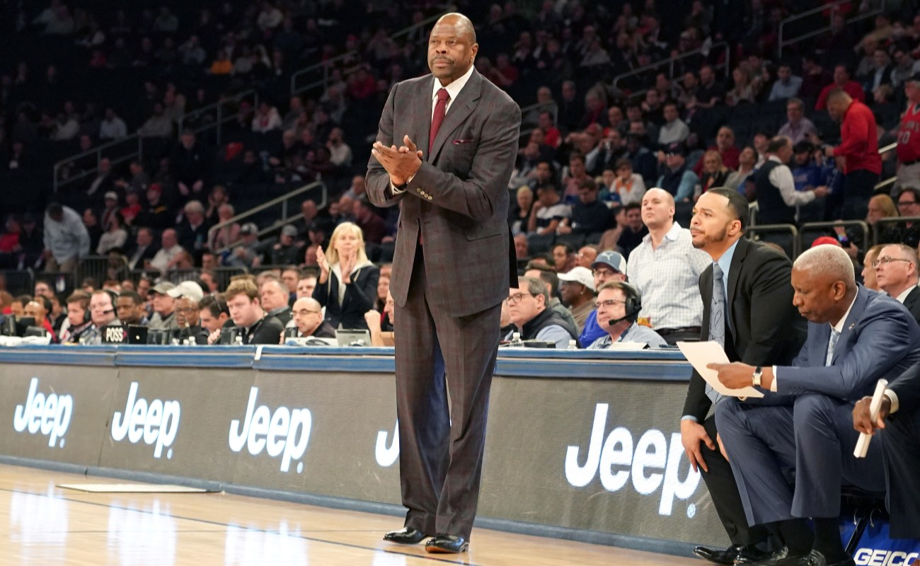 Head coach Patrick Ewing of the Georgetown Hoyas looks on during the Big East Conference Men's Basketball Tournament First Round game against the St. John's Red Storm at Madison Square Garden on March 11, 2020 in New York City.