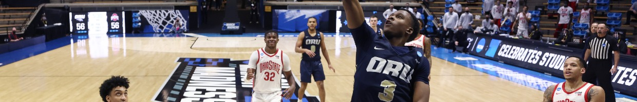 Max Abmas #3 of the Oral Roberts Golden Eagles drives to the basket against the Ohio State Buckeyes in the first round game of the 2021 NCAA Men's Basketball Tournament at Mackey Arena on March 19, 2021 in West Lafayette, Indiana. (Photo by Gregory Shamus/Getty Images)