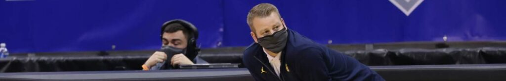 Head coach Steve Wojciechowski of the Marquette Golden Eagles during the first half of an NCAA college basketball game against the Seton Hall Pirates at Prudential Center on February 14, 2021 in Newark, New Jersey. Seton Hall defeated Marquette 57-51. (Photo by Rich Schultz/Getty Images)