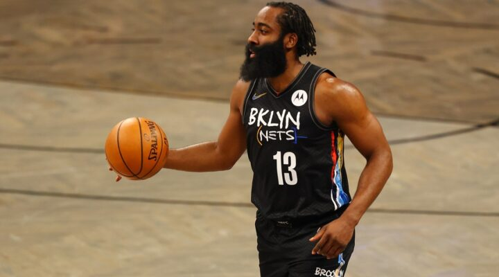 James Harden #13 of the Brooklyn Nets in action against the Washington Wizards at Barclays Center on March 21, 2021, in New York City. (Photo by Mike Stobe/Getty Images)