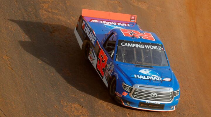 BRISTOL, TENNESSEE - MARCH 26: Stewart Friesen, driver of the #52 Halmar International Toyota, drives during practice for the NASCAR Camping World Truck Series Pinty's Truck Race on Dirt at Bristol Motor Speedway on March 26, 2021 in Bristol, Tennessee. (Photo by Jared C. Tilton/Getty Images)