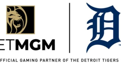 betmgm logo next to the detroit tigers logo on a white background