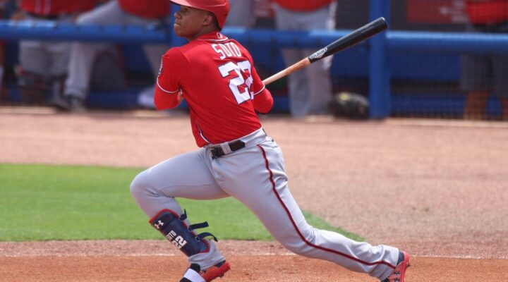 PORT ST. LUCIE, FLORIDA - MARCH 18: Juan Soto #22 of the Washington Nationals in action against the New York Mets in a spring training game at Clover Park on March 18, 2021 in Port St. Lucie, Florida. (Photo by Mark Brown/Getty Images)