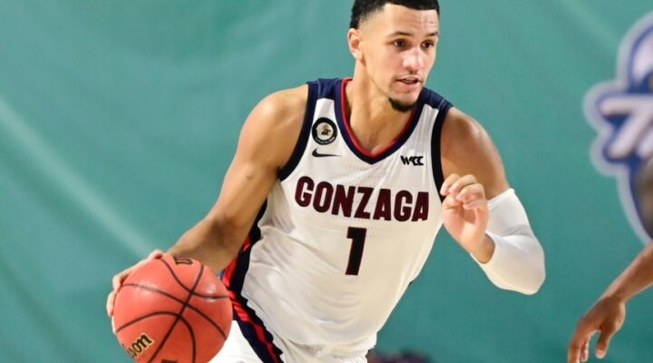 Jalen Suggs #1 of the Gonzaga Bulldogs dribbles the ball during the second half against the Auburn Tigers during the Rocket Mortgage Fort Myers Tip-Off at Suncoast Credit Union Arena on November 27, 2020 in Fort Myers, Florida.