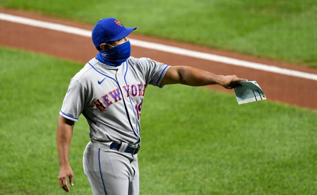 BALTIMORE, MD - SEPTEMBER 01: Manager Luis Rojas #19 of the New York Mets walks on the field before the game against the Baltimore Orioles at Oriole Park at Camden Yards on September 1, 2020 in Baltimore, Maryland. (Photo by G Fiume/Getty Images)