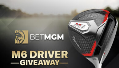 "BetMGM logo next to ""M6 Driver Giveaway"" and an M6 TaylorMade Driver head"