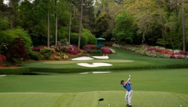 AUGUSTA, GEORGIA - APRIL 09: Brian Harman of the United States plays his shot from the 12th tee during the second round of the Masters at Augusta National Golf Club on April 09, 2021 in Augusta, Georgia. (Photo by Jared C. Tilton/Getty Images)