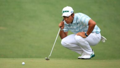 Hideki Matsuyama of Japan looks over a putt on the tenth green during the third round of the Masters at Augusta National Golf Club on April 10, 2021 in Augusta, Georgia. (Photo by Mike Ehrmann/Getty Images)