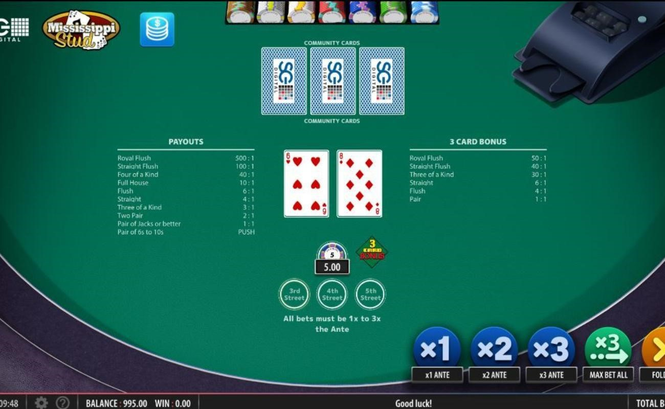 Mississippi Stud online casino game by NYX.