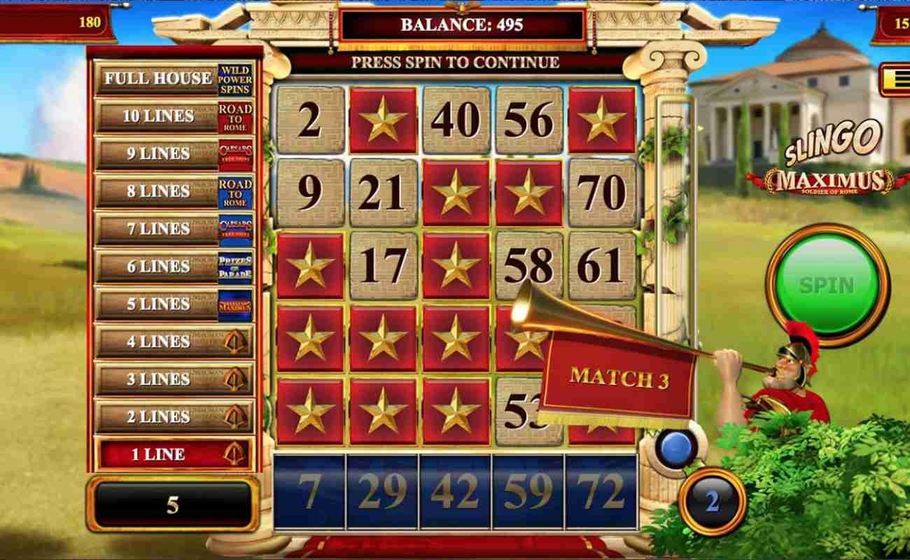 Slingo Maximus Soldier of Rome online casino game by Slingo.