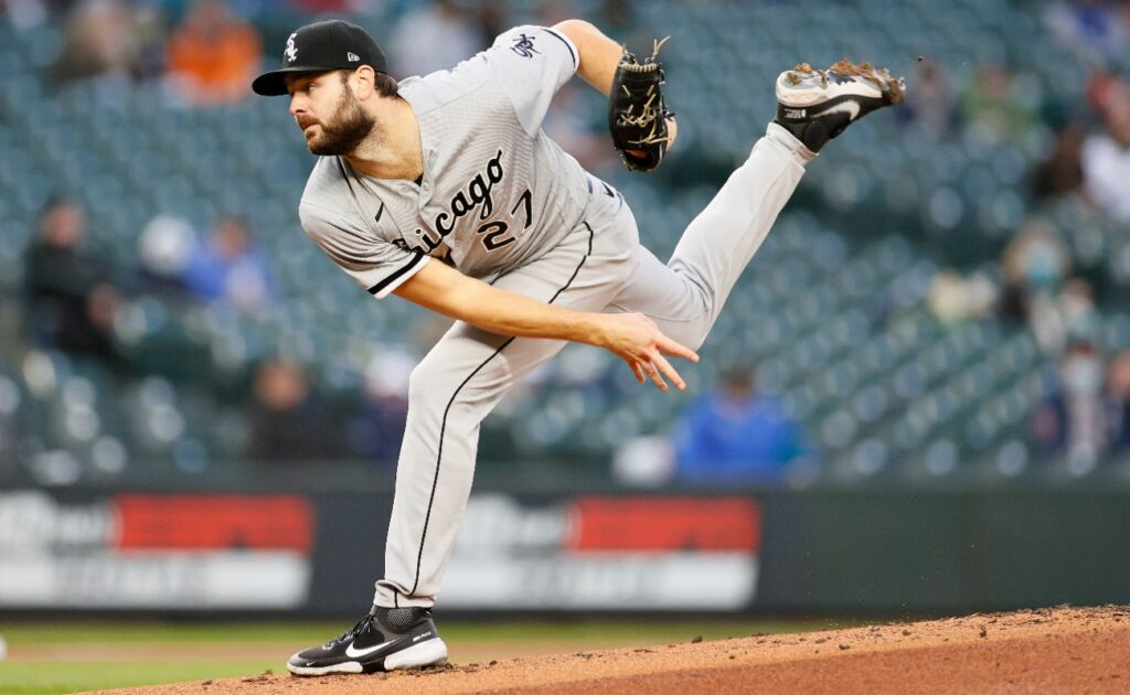 Lucas Giolito #27 of the Chicago White Sox pitches against the Seattle Mariners in the first inning at T-Mobile Park on April 06, 2021 in Seattle, Washington.