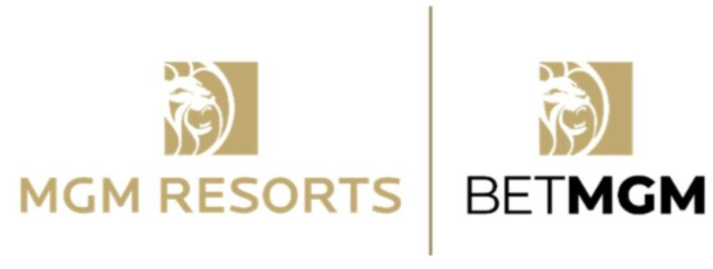 The MGM Resorts logo next to the BetMGM logo, separated by a gold pipe on a white background