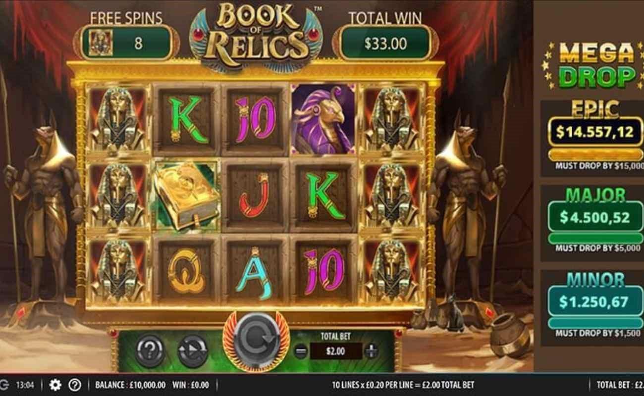 Book of Relics Mega Drop online slot by SG Digital.