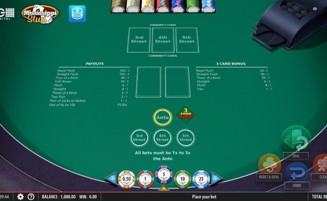 Mississippi Stud online casino game by SG Digital.