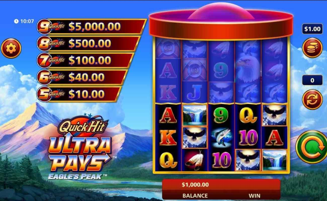 Quick Hit Ultra Pays Eagle's Peak online slot by SG Digital.