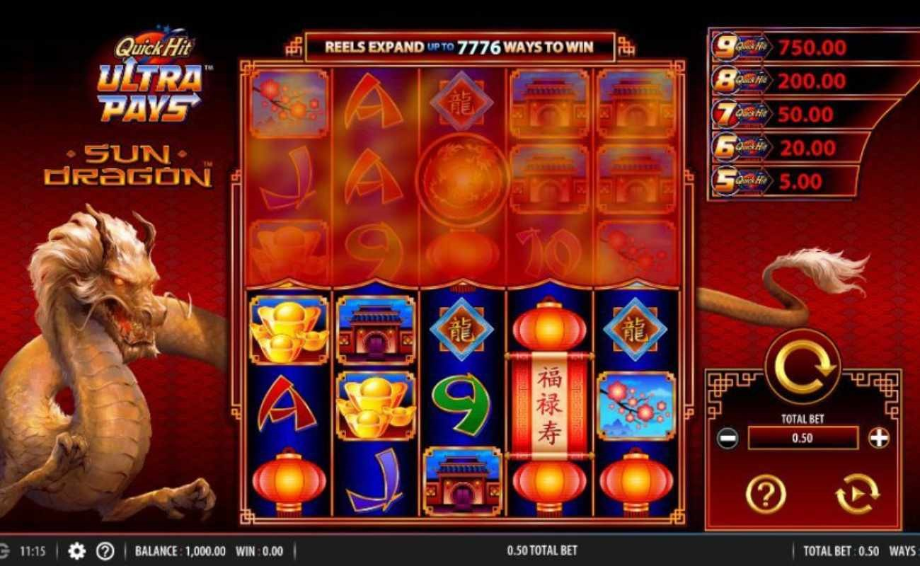 Quick Hit Ultra Pays Sun Dragon online slot by SG Digital.