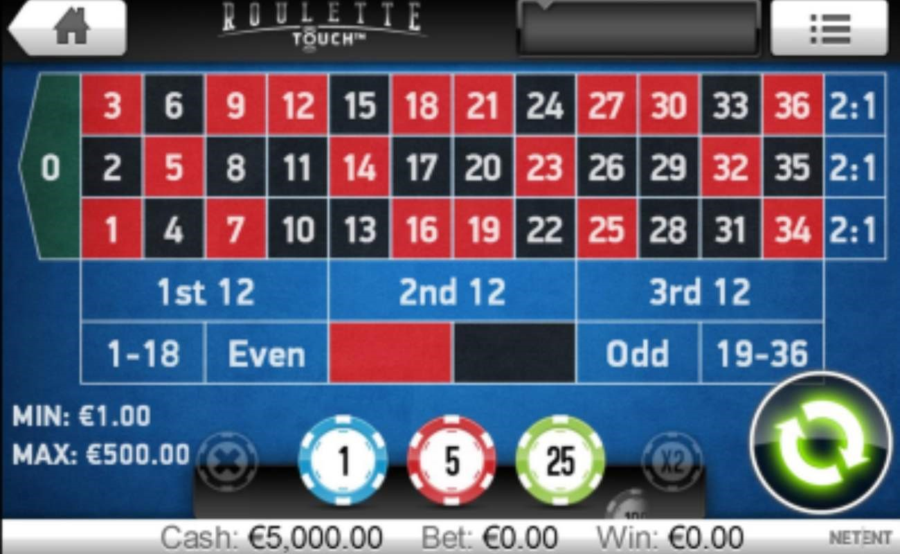 Roulette Touch online casino game by NetEnt.