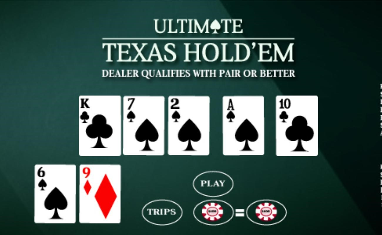 Ultimate Texas Hold'em online casino game by SG Digital.