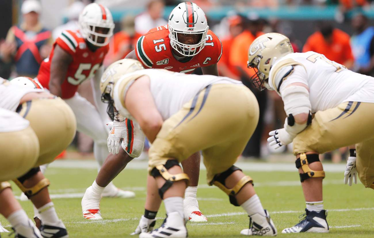 MIAMI, FLORIDA - OCTOBER 19: Gregory Rousseau #15 of the Miami Hurricanes in action against the Georgia Tech Yellow Jackets during the second half at Hard Rock Stadium on October 19, 2019 in Miami, Florida. (Photo by Michael Reaves/Getty Images)