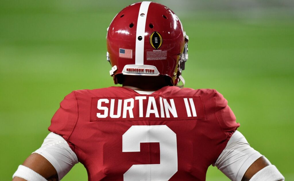 MIAMI GARDENS, FLORIDA - JANUARY 11: Patrick Surtain II #2 of the Alabama Crimson Tide warms up before the College Football Playoff National Championship football game against the Ohio State Buckeyes at Hard Rock Stadium on January 11, 2021 in Miami Gardens, Florida. The Alabama Crimson Tide defeated the Ohio State Buckeyes 52-24. (Photo by Alika Jenner/Getty Images)