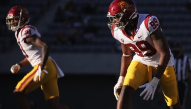 TUCSON, ARIZONA - NOVEMBER 14: Linebacker Drake Jackson #99 of the USC Trojans lines up during the second half of the PAC-12 football game against the Arizona Wildcats at Arizona Stadium on November 14, 2020 in Tucson, Arizona. The Trojans defeated the Wildcats 34-30. (Photo by Christian Petersen/Getty Images)