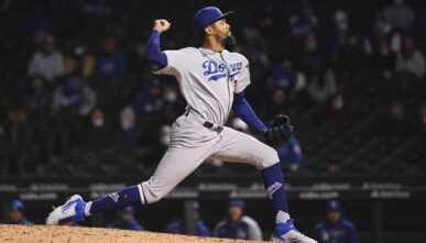 CHICAGO, ILLINOIS - MAY 05: Dennis Santana #77 of the Los Angeles Dodgers pitches against the Chicago Cubs at Wrigley Field on May 05, 2021 in Chicago, Illinois. (Photo by Quinn Harris/Getty Images)
