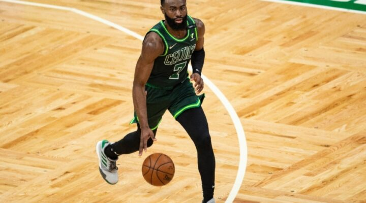 Jaylen Brown #7 of the Boston Celtics drives to the basket during the second half against the Portland Trail Blazers at TD Garden on May 02, 2021 in Boston, Massachusetts.