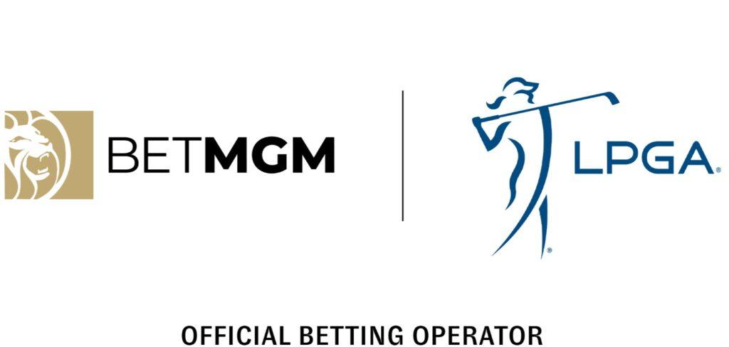 BetMGM logo next to the LPGA logo on a white background