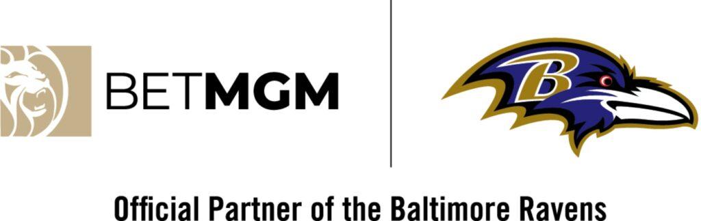 BetMGM logo next to the Baltimore Ravens logo on a white background
