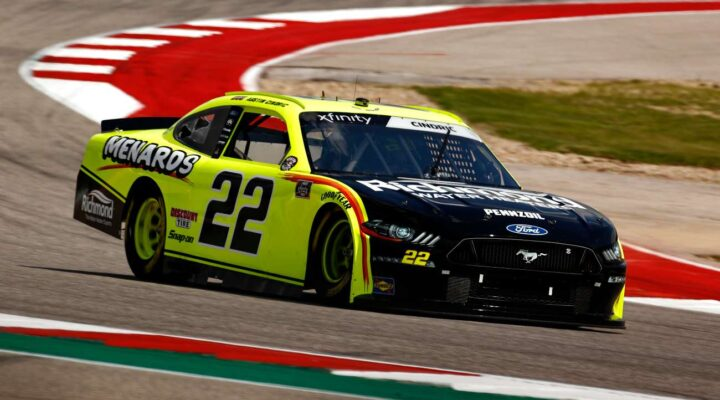 AUSTIN, TEXAS - MAY 21: Austin Cindric, driver of the #22 Menards/Richmond Ford, drives during practice for the NASCAR Xfinity Series Pit Boss 250 at Circuit of The Americas on May 21, 2021 in Austin, Texas. (Photo by Jared C. Tilton/Getty Images)