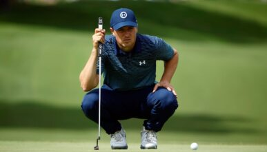 FORT WORTH, TEXAS - MAY 27: Jordan Spieth lines up his putt on the 18th hole during the first round of the Charles Schwab Challenge at Colonial Country Club on May 27, 2021 in Fort Worth, Texas. (Photo by Tom Pennington/Getty Images)
