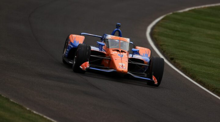INDIANAPOLIS, INDIANA - MAY 28: Scott Dixon of New Zealand, driver of the #9 PNC Bank Grow Up Great Chip Ganassi Racing Honda, drives during Carb Day for the 105th Indianapolis 500 at Indianapolis Motor Speedway on May 28, 2021 in Indianapolis, Indiana. (Photo by Stacy Revere/Getty Images)