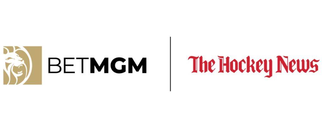 The BetMGM logo next to The Hockey News logo on a white background.