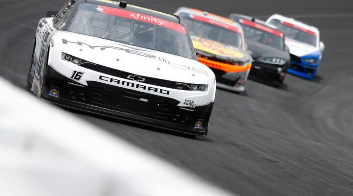 CONCORD, NORTH CAROLINA - MAY 29: AJ Allmendinger, driver of the #16 Hyperice Chevrolet, leads the field during the NASCAR Xfinity Series Alsco Uniforms 300 at Charlotte Motor Speedway on May 29, 2021 in Concord, North Carolina. (Photo by Brian Lawdermilk/Getty Images)
