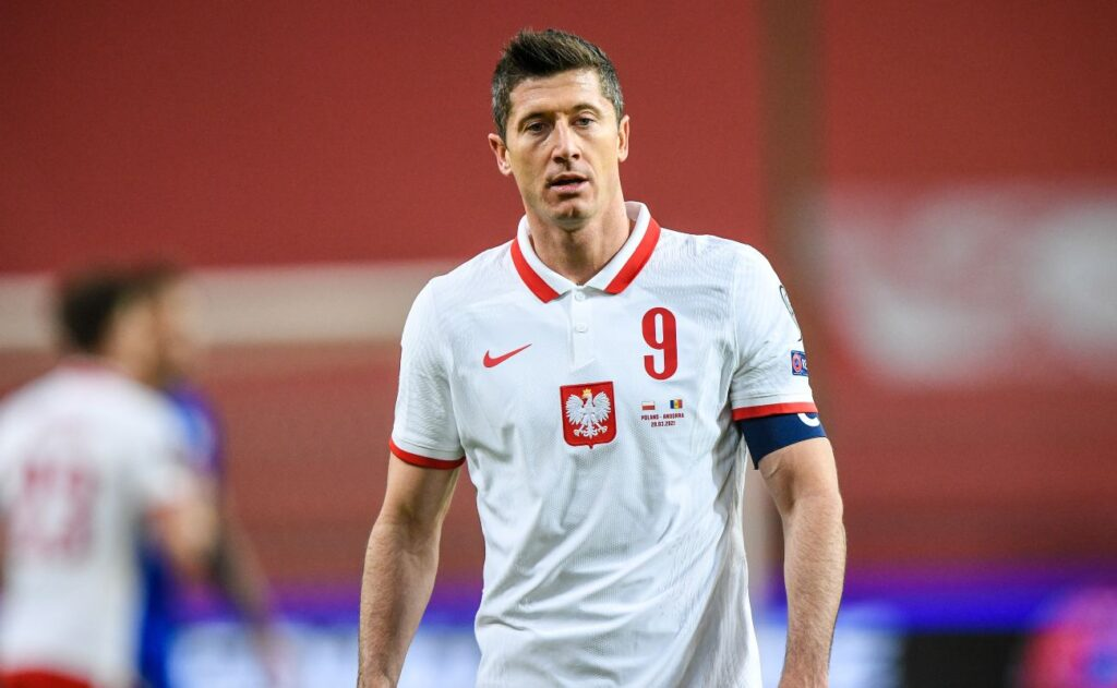 Xxxxxxxxxxxxx BODY ART poland XXXXXXXXXXXXXXXXXXXXXXX WARSAW, POLAND - MARCH 28: Robert Lewandowski of Poland looks on during the FIFA World Cup 2022 Qatar qualifying match between Poland and Andorra on March 28, 2021, in Warsaw, Poland. (Photo by Rafal Oleksiewicz/PressFocus/MB Media/Getty Images)