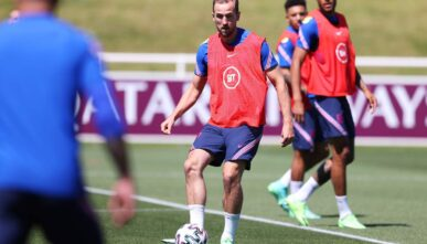 BURTON UPON TRENT, ENGLAND - JUNE 09: Harry Kane takes part in a drill with team mates during an England training session at St George's Park on June 09, 2021 in Burton upon Trent, England. (Photo by Catherine Ivill/Getty Images)