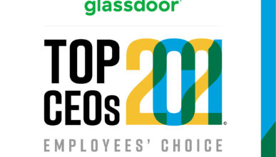 """Glassdoor logo for the """"Top CEOs 2021 - Employees' choice"""""""