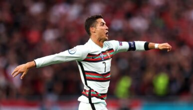 BUDAPEST, HUNGARY - JUNE 15: Cristiano Ronaldo of Portugal celebrates scoring his side's third goal during the UEFA Euro 2020 Championship Group F match between Hungary and Portugal on June 15, 2021 in Budapest, Hungary. (Photo by Alex Pantling/Getty Images)