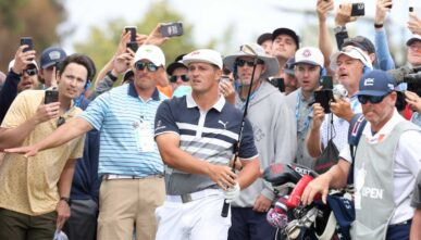 SAN DIEGO, CALIFORNIA - JUNE 20: Bryson DeChambeau of the United States plays a chip shot from the rough on the 13th hole during the final round of the 2021 U.S. Open at Torrey Pines Golf Course (South Course) on June 20, 2021 in San Diego, California. (Photo by Harry How/Getty Images)