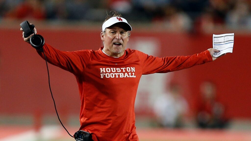 HOUSTON, TEXAS - OCTOBER 24: Head coach Dana Holgorsen reacts to a penalty called by the officials during a football game against the Southern Methodist Mustangs of the Houston Cougars on October 24, 2019 in Houston, Texas. (Photo by Bob Levey/Getty Images)