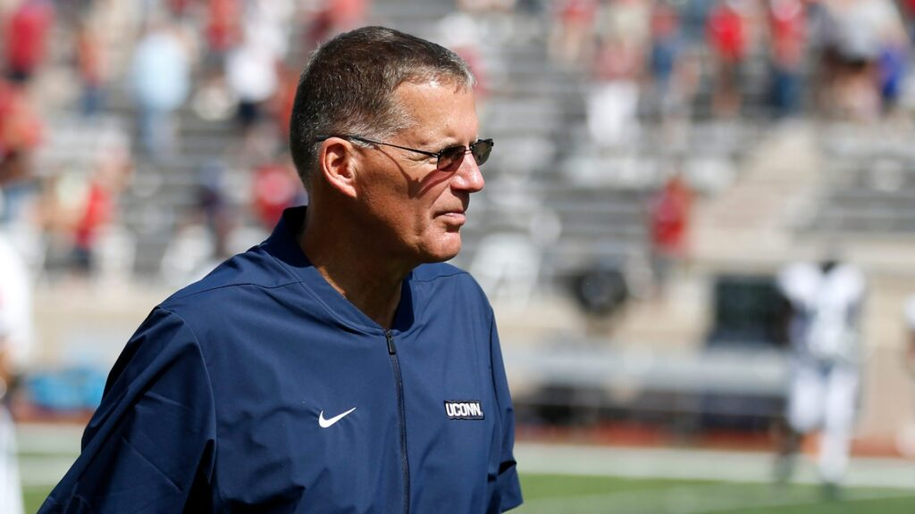 BLOOMINGTON, INDIANA - SEPTEMBER 21: Head coach Randy Edsall of the Connecticut Huskies on the field after the game against the Indiana Hoosiers at Memorial Stadium on September 21, 2019 in Bloomington, Indiana. (Photo by Justin Casterline/Getty Images)