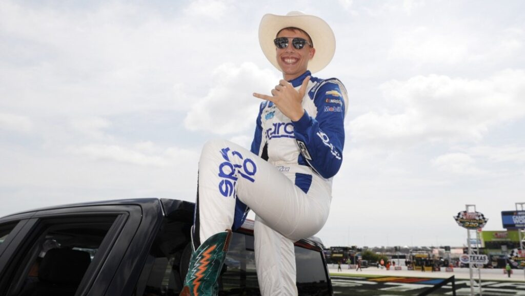 Carson Hocevar, driver of the #42 Sparco/PlainsCapital Bank Chevrolet, poses for a photo after a ride around prior to the NASCAR Xfinity Series Alsco Uniforms 250 at Texas Motor Speedway on June 12, 2021 in Fort Worth, Texas.