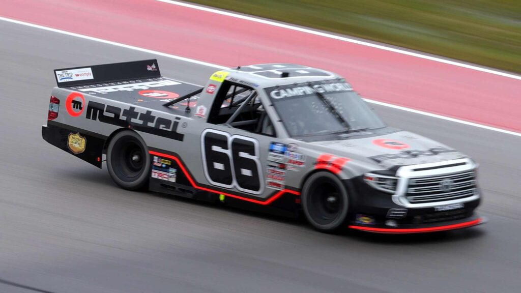 AUSTIN, TEXAS – MAY 22: Paul Menard, driver of the #66 Mattei Air Compressors Toyota, drives during the NASCAR Camping World Truck Series Toyota Tundra 225 at Circuit of the Americas on May 22, 2021 in Austin, Texas.